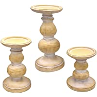 """QUABUY Antique Wood Look Wash Finish Pillar Set of 3 Candle Holders W/ 5"""", 7"""",9"""" H.Ideal for LED & Pillar Candles, Home…"""