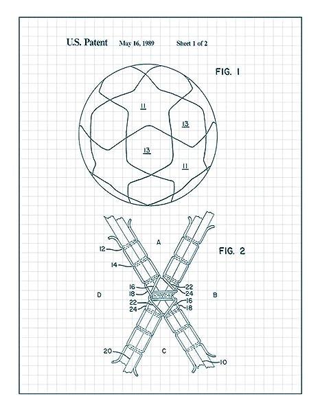 Amazon Com Soccer Ball Patent Print Art Poster Black Grid 11 X 14