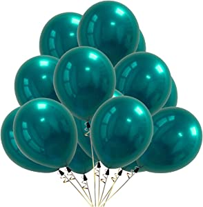 50 PCS Chrome Metallic Latex Balloons 10 Inch – 4g/pc 2-Layered Premium Helium Metal Balloon for Theme Birthday Parties Wedding Supplies Graduation Decor Baby Shower Decorations (Chrome Teal)