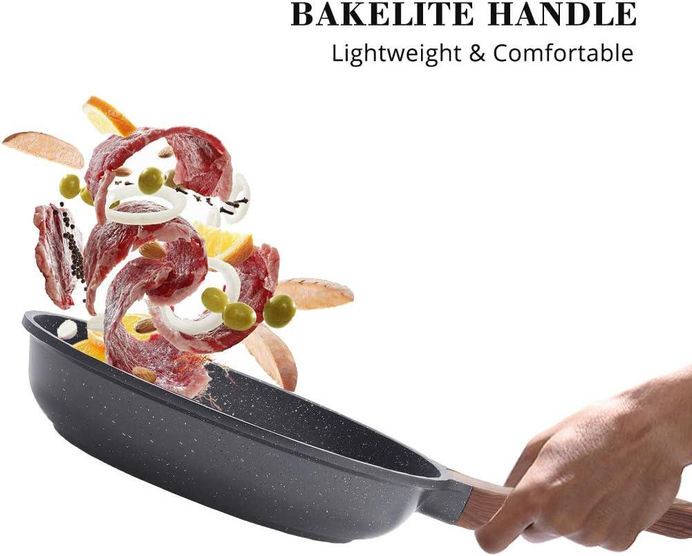 Swiss Granite Coating Omelette Pan Healthy Stone Cookware Chefs Pan PFOA Free Sensarte 8//10-Inch Nonstick Frying Pan Skillet