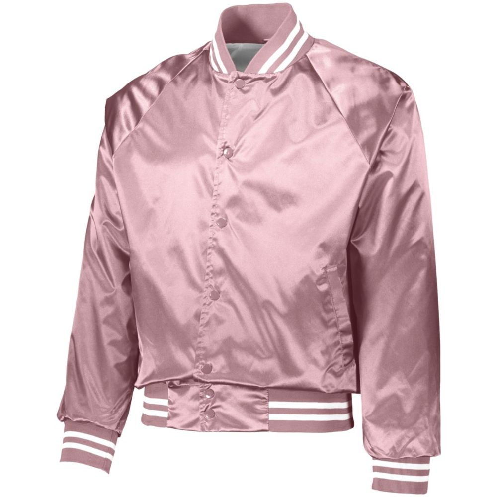 Augusta Activewear Satin Baseball Jacket/Striped Trim, Light Pink/White, X Large