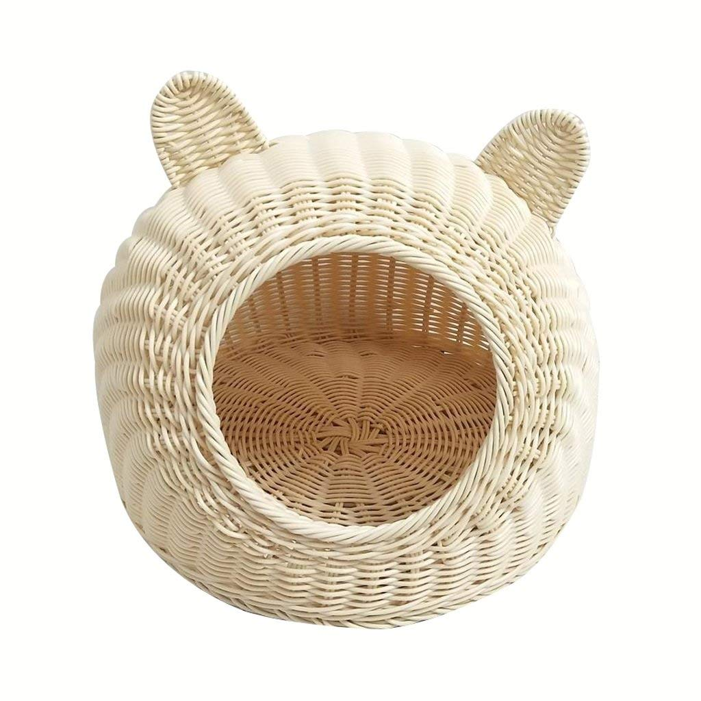 JINGB Cat House Closed Rattan Young Dog Puppy Nest Hand Made Cat Nest Easy to Clean Pet Supplies Pet Bed Pet House