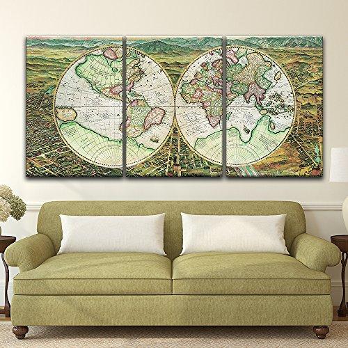 3 Panel Vintage World Map x 3 Panels