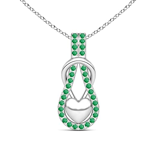 Angara Emerald Infinity Knot Necklace for Women in Platinum tjaYs