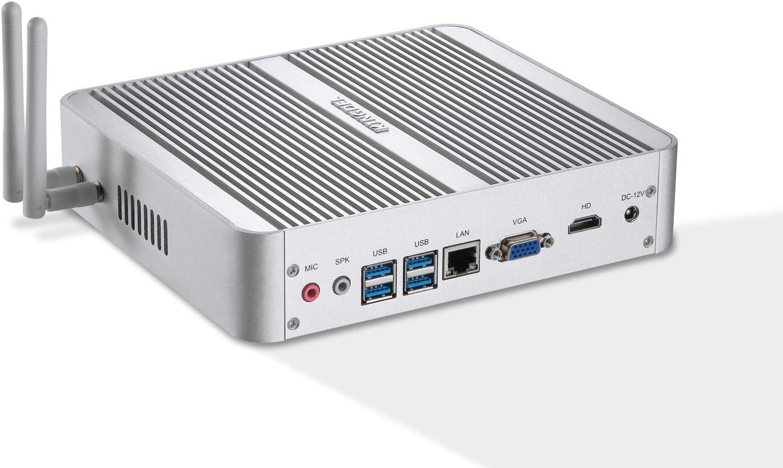 Kingdel Fanless Mini PC, Powerful Mini Desktop Computer, Intel i5 8th Gen. 4 Cores CPU, 16GB DDR4 RAM, 250GB SSD, 4096x2304, HD Port, LAN, VGA, 4xUSB 3.0, Wi-Fi, Windows 10 Pro