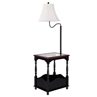 Exceptional Floor Lamp With Toughened Glass Top Table And Built In Black Table    Combination Tray