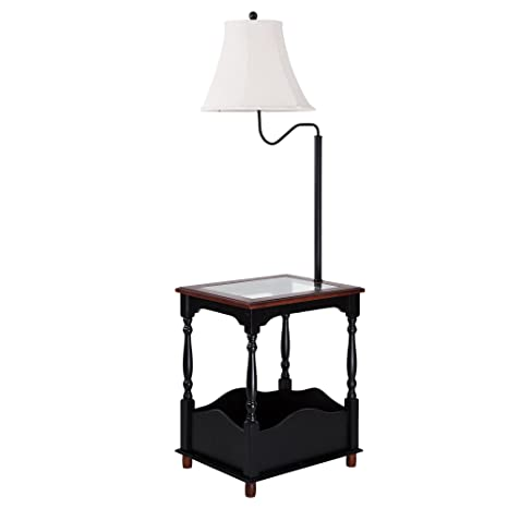 Floor lamp with toughened glass top table and built in black table floor lamp with toughened glass top table and built in black table combination tray aloadofball Gallery