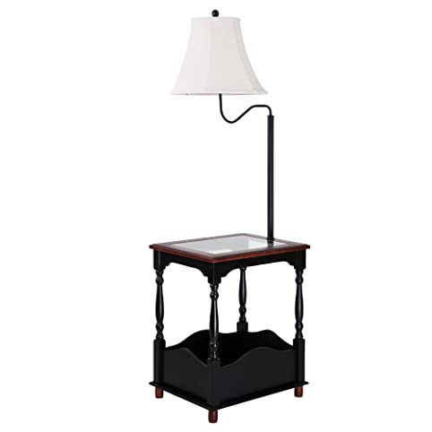 Floor Lamp with Toughened Glass Top Table and Built-in Black Table ...