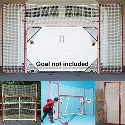 - EZGoal Hockey Backstop Kit with Targets, Red/White