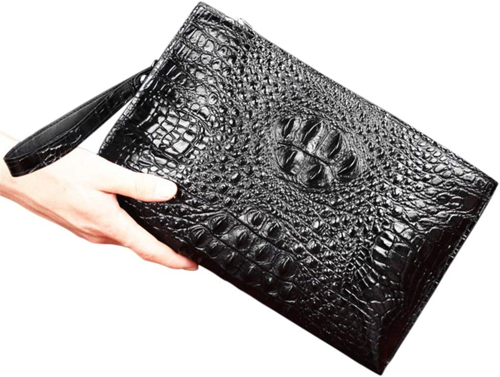 Vooo4cc Crocodile Pattern Mens Clutch Bag Leather Large Capacity Business Hand Pouch Black 2