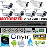 USG Business Grade 7 Camera Security System 1080P 2MP @ 30FPS HD-TVI : 5x Motorized Auto-Focus 2.8-12mm & 2x Manual 2.8-12mm Vari-focal Lens Bullet Cameras + 1x 16 Channel DVR + 1x 4TB HD