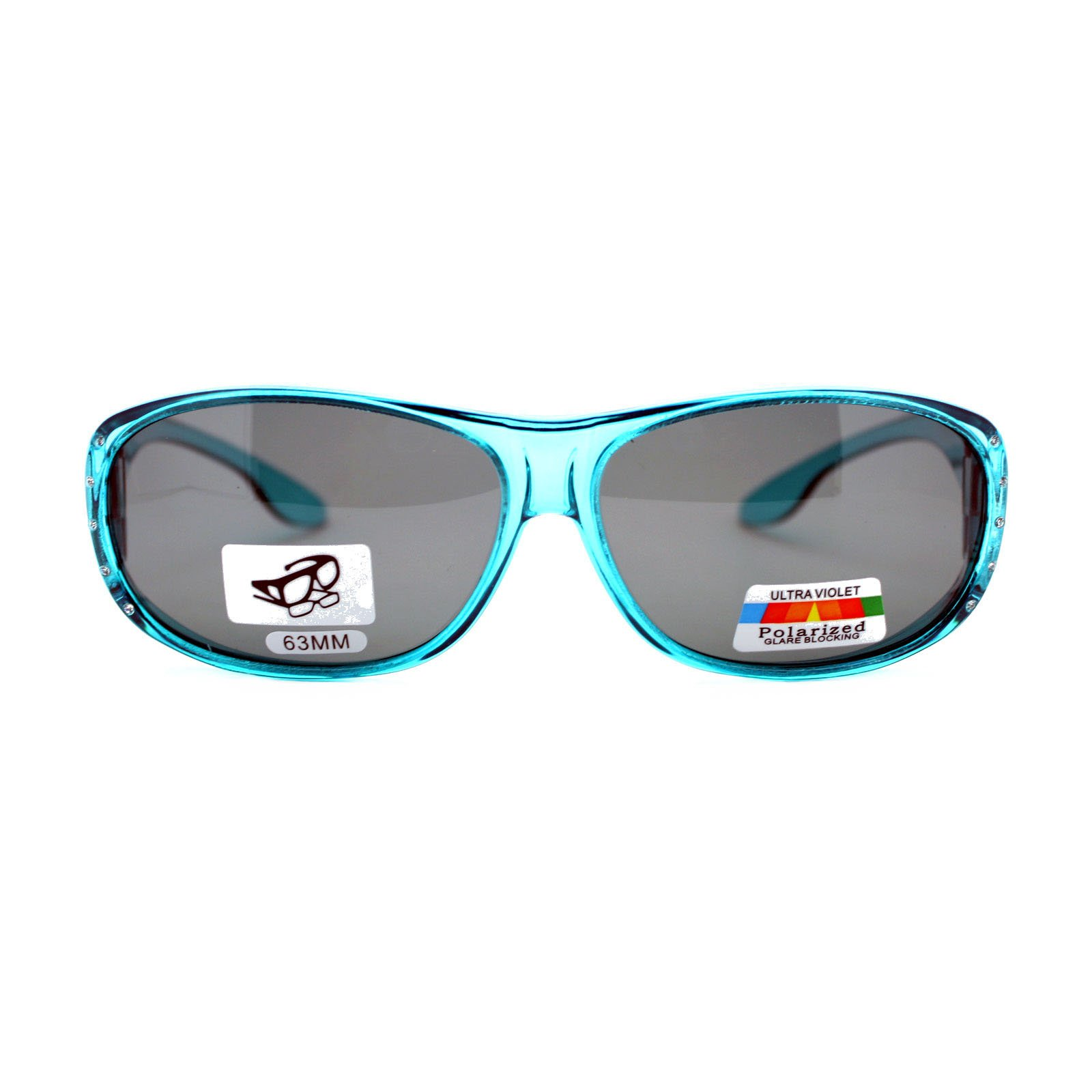 Womens Polarized Fit Over Glasses Rhinestone Sunglasses Oval Rectangular Teal by PASTL (Image #2)