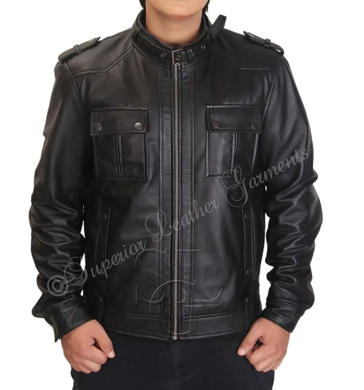 Leather jacket karachi - Mens Slim Fit Strap Pocket Real Black Leather Jacket Amazon Co Uk Clothing