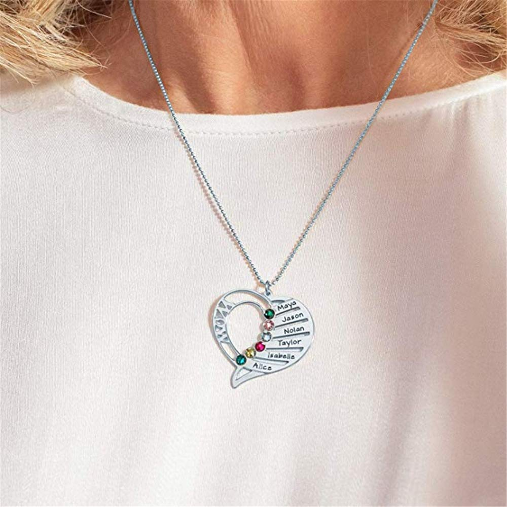 SUNNY Store Personalized Birthstones 925 Silver Mom Heart Pendant Necklace Jewelry Mothers Birthday Jewelry Gifts