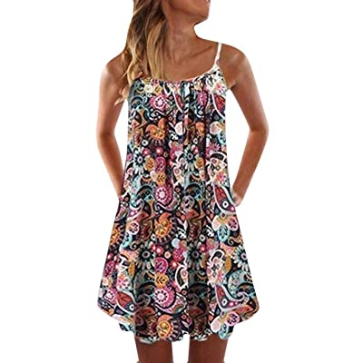 Summer Dresses for Women Off-Shoulder Strappy Mini Beach Dress Boho Floral Swing Tank Tops Short T-Shirt Dress: Clothing