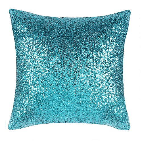 Party Pillowcase - PONY DANCE Glitter Sequins Party Pillow Cases Home Decor for Xmas Throw Pillow Cover Comfy Satin Solid Sofa Pillowcase Including Invisible Zipper Design,18