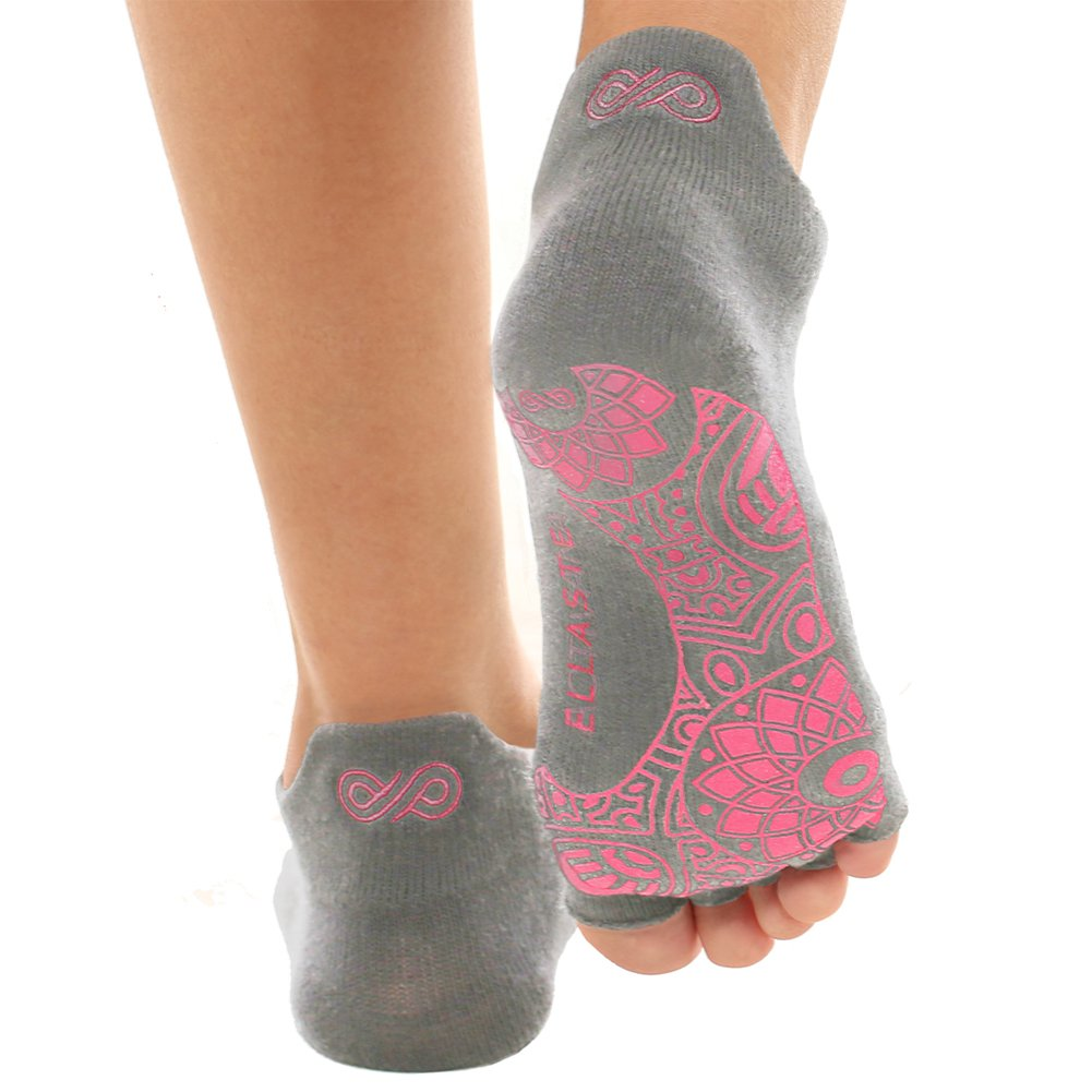 Ellaste Yoga Socks – Open Toe Non Slip Anti Skid Grip Sock for Yoga Pilates Barre – for Women Girl (Gray, Small/Medium (Women 5-8.5/Men 4-7.5))