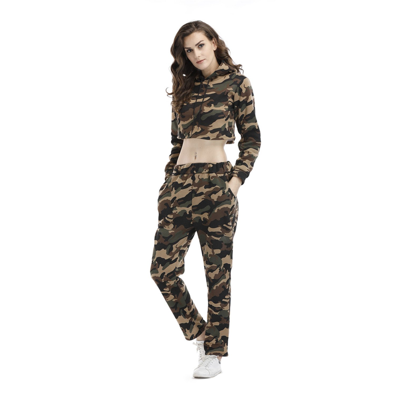 2 Pcs Military Camo Camouflage Hood Hooded Hoodie Sweatshirt Cropped Crop Top Sweatpants Tracksuit Set at Amazon Womens Clothing store: