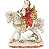 Fitz and Floyd Damask Holiday Santa On Horse Figurine