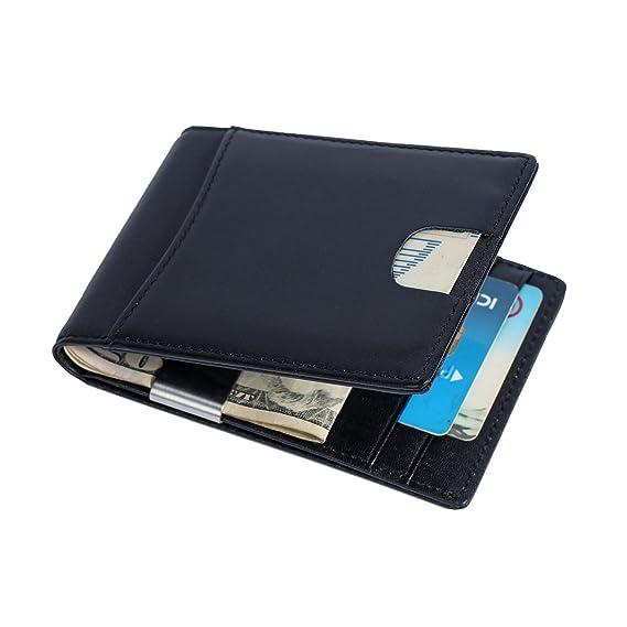 Cartera con Bloqueo RFID, Carpeta del Cuero, Clip de Billetera, Piel Auténtica Cartera Slim Tarjeta de Crédito (Black): Amazon.es: Equipaje