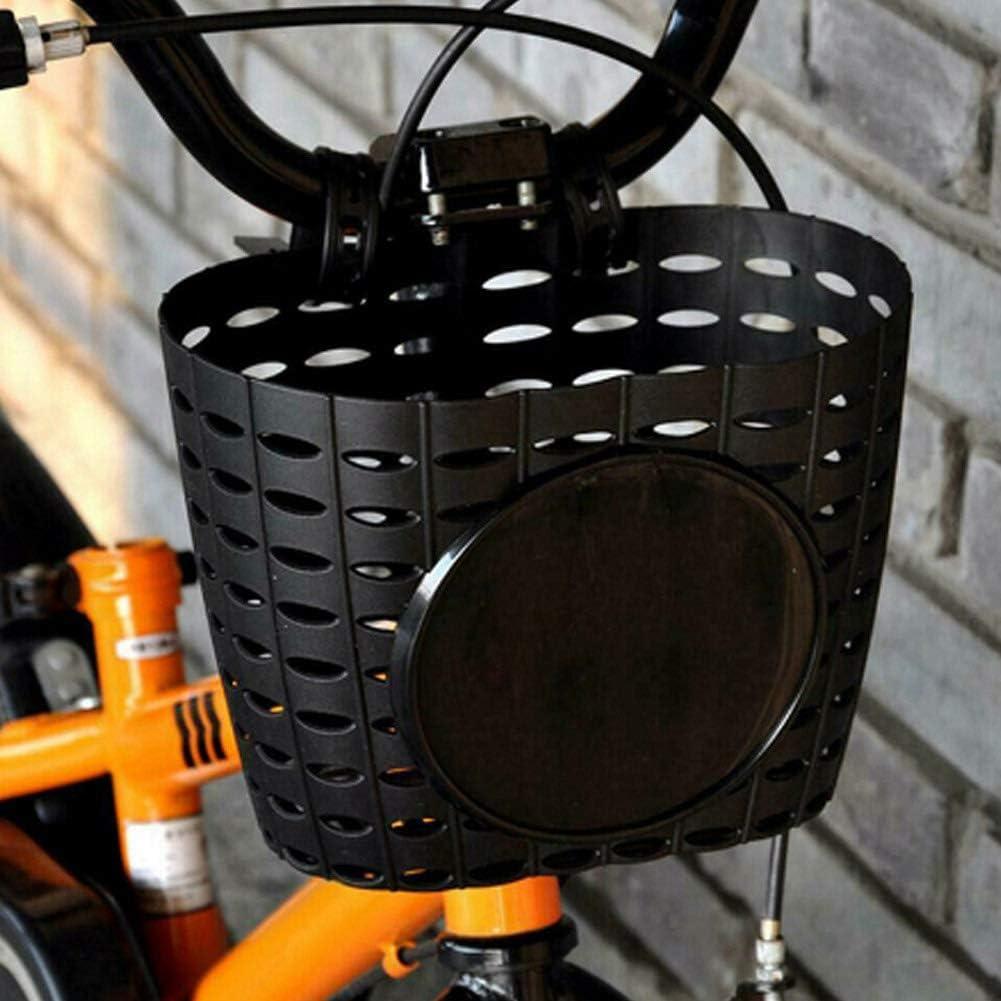 Oumefar Mano de Obra Fina Cesta Delantera para Bicicleta Dise/ño Hueco Resistente al Desgaste Adecuado para Scooters Negro Durable en Uso