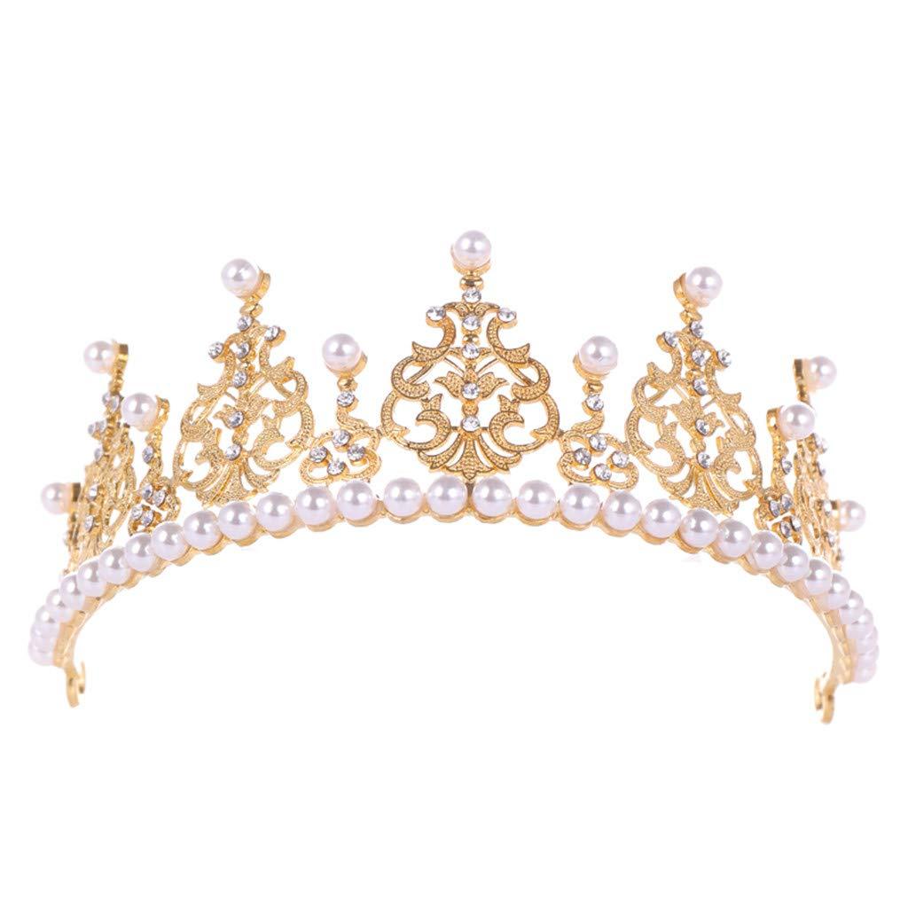 Meidexian888 Luxury Elegant Crown Full of Zircon Peal Headwear Ladies Jewelry for Wedding Prom Birthday Party
