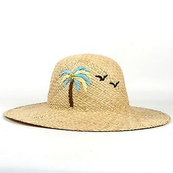 Yhuisen Sombrero de moda, Straw Wide Brim Sun Hats Blusa de bordado hecho a mano