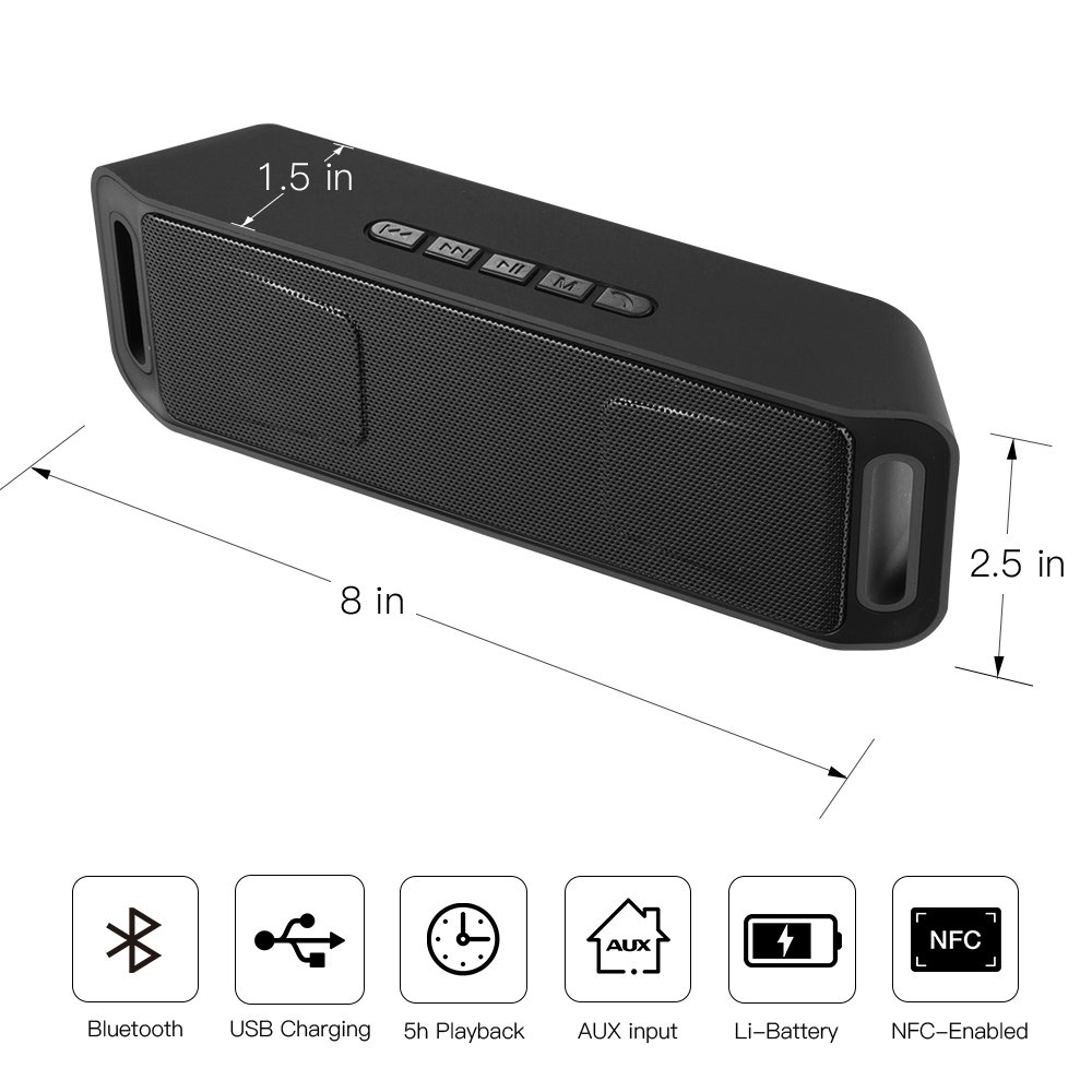 Portable Bass Dual Stereo Speaker Wireless Bluetooth Speaker Support Handsfree AUX USB TF Card Mic for iPhone /iPad/Phones/Tablet/Computer (Black) by SUOKO (Image #3)