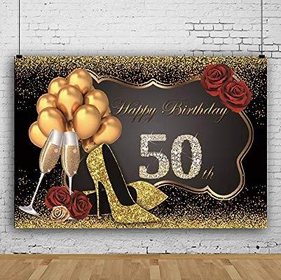 Cassisy 1,5x1m Vinilo Fondo de Fotografia Mujer 50º Tema del Feliz cumpleaños Lentejuelas Purpurina Tacones Altos Globo Telón de Fondo Photo Booth ...