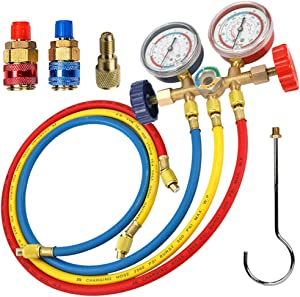"LIYYOO Refrigerant Charging Hose, with Pressure Gauge and Hook Apply to R134A R12 R22 R502 R404 Refrigerant Air Conditioning Manifold Gauge 1/4"" Thread Hose Set 60"" Red/Yellow/Blue (Pack of 3)"