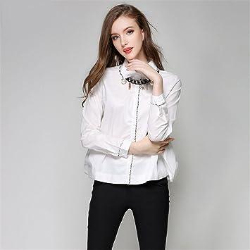 Damas moda casual blusa otoño traje de manga larga de moda collar de la camisa camisa