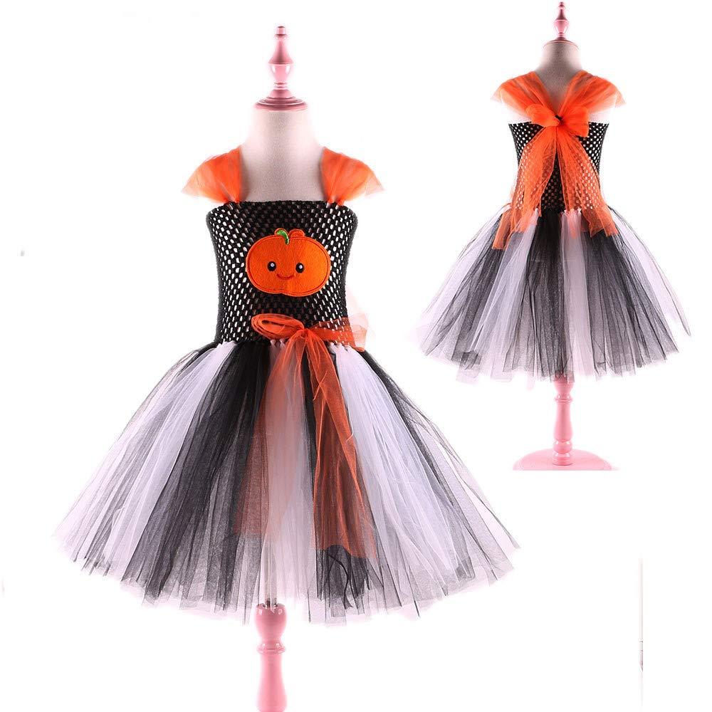 Halloween Fille Robe Princesse Citrouille Costume Carnaval Anniversaire Enfant Mariee QinMM Deguisement Enfant Sorci/ère F/ête Tutu Tulle Ballet Danse /à Bretelle Ajustable Dentelle Lacet 1-8 Ans