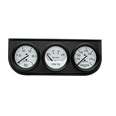 AUTO METER 2327 Autogage Mechanical Oil/Volt/Water Gauge with Black Console: Automotive