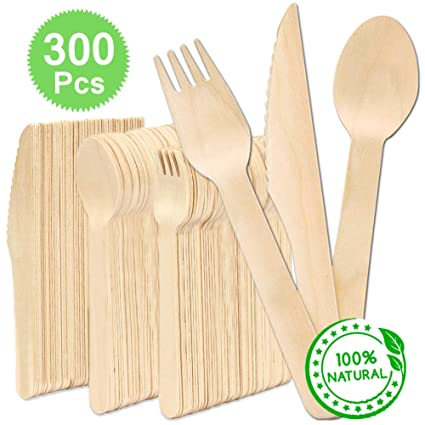 100 WOODEN BIRCHWOOD CUTLERY FORKS KNIVES OR SPOONS WOOD Party BBQ Disposable