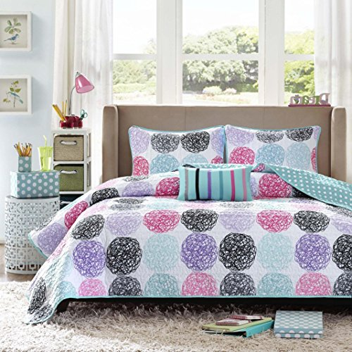UNK2 4 Piece Kids Purple Polka Dot Full Queen Size Coverlet Set, Beautiful Girls Doodle Circle Pattern Dots Pink Black Teal Circles, Unique Sleek Trendy Bedding, Microfiber, Polyester (Pattern Teal Pink)