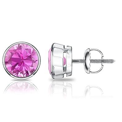 1aec09013 Amazon.com: 14k White Gold Bezel Round Pink Sapphire Gemstone Stud Earrings  (2 cttw): Jewelry