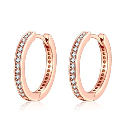 169216205 Qings 925 Sterling Silver Earrings, Rose Gold Small Hoop Stud Earrings with  Cubic Zirconia Simulated Diamond Gifts for Lady women Girls: Amazon.co.uk:  ...