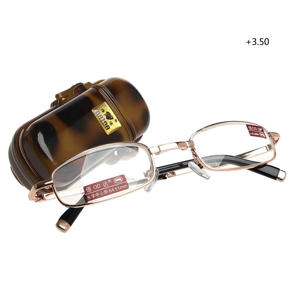 Magicub 1PC Mini Foldable Reading Glasses Metal Full Frame Case Eyeglass +3.50