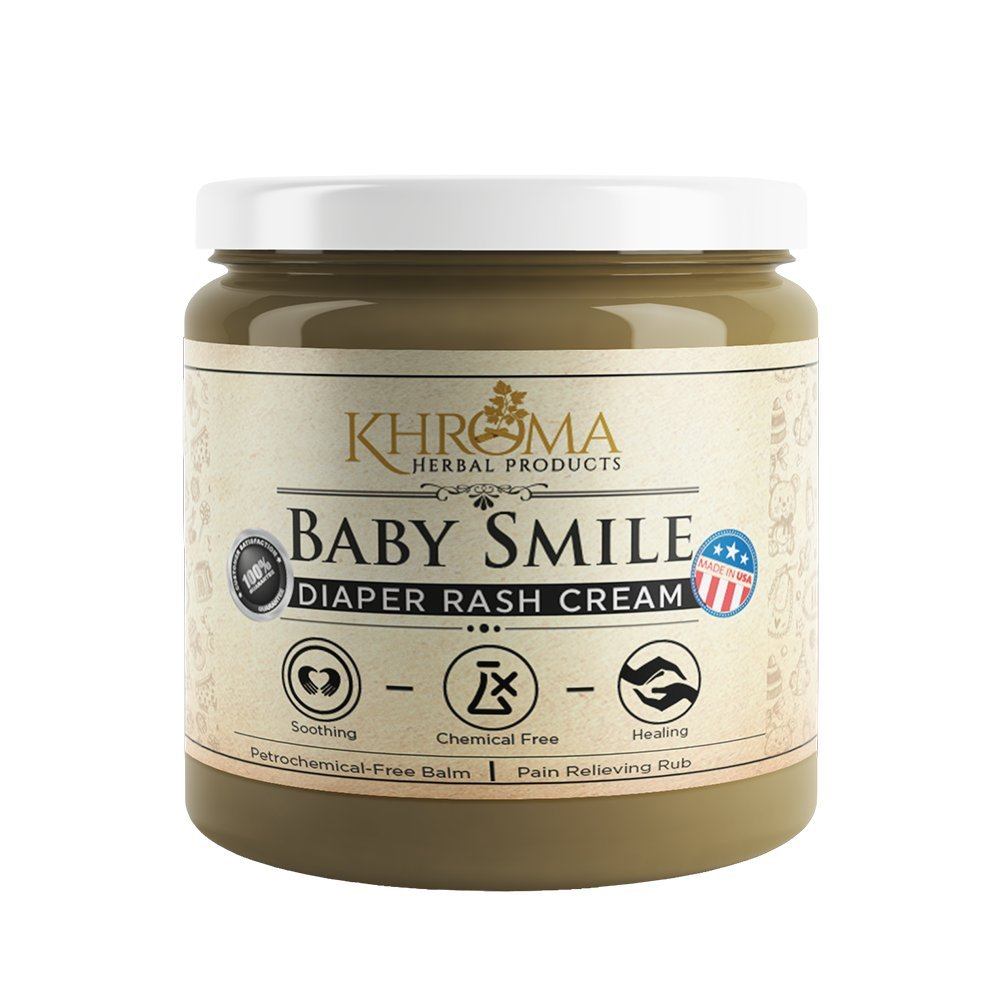 Baby Smile - Organic Soothing Diaper Rash Cream - 2 oz in Glass Bottle - With Lavender, Calendula Flowers, Shea Butter Khroma Herbal Products