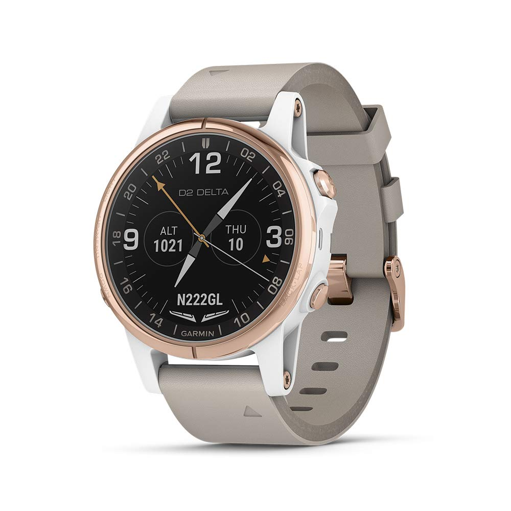 Garmin D2 Delta S, Smaller-Sized GPS Pilot Watch, Includes Smartwatch Features, Heart Rate and Music, Rose Gold with Beige Leather Band by Garmin