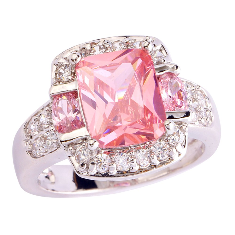 Psiroy 925 Sterling Silver Created Pink Topaz Filled Halo Promise Ring