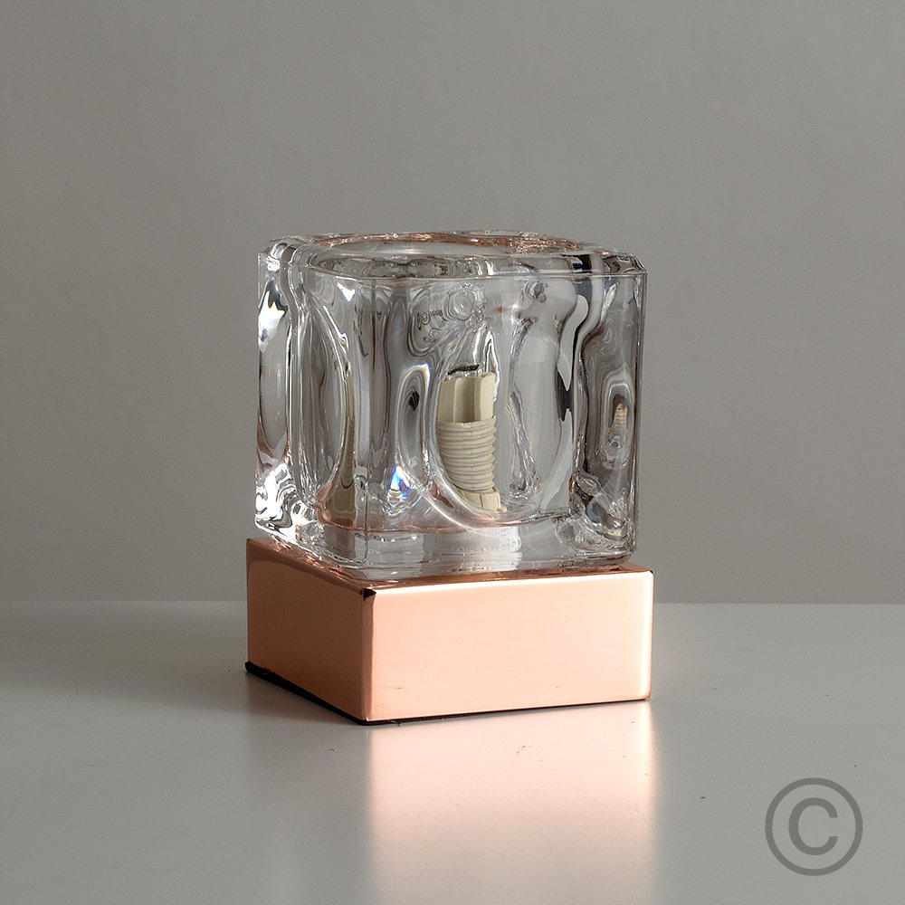 Modern Glass Ice Cube Touch Table Lamp with Black Chrome Base MiniSun