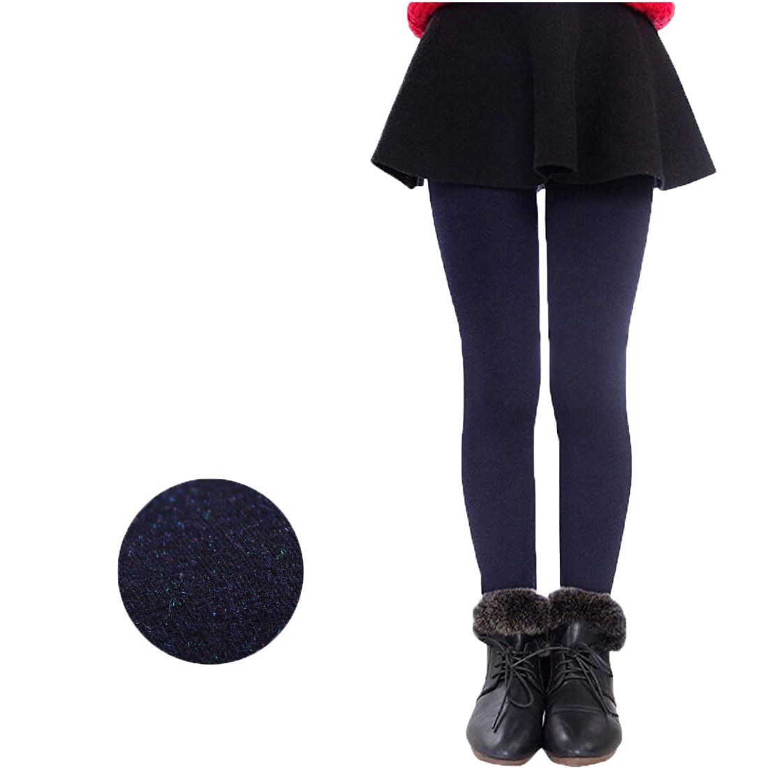 Weigou Winter Girls Leggings Pants Thick Warm Fleece Lined Thermal Stretchy Pants (L(11-14 Yeas ,Height 140-150cm), Navy)
