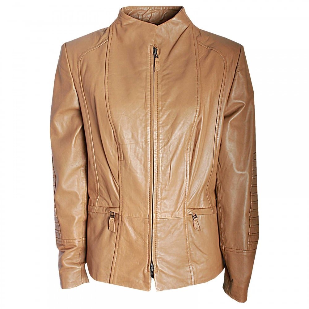 Javier Simorra Short Leather Jacket with Pleat Detail 16 Camal: Amazon.es: Ropa y accesorios