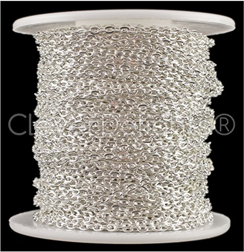 Clever Cable (CleverDelights Cable Chain Spool - 30 Feet - Shiny Silver Color - 2x3mm Link - 10 Meters)