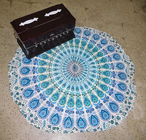 Mandala Mat Beach Towel Blue Peacock Mandala Round Table Cover Beach Throw Tapestry Hippie Gypsy Tablecloth Round Yoga Mat, 50 Inch 100% Pure Cotton Screen Print Yoga Mat By - Blue Round 031