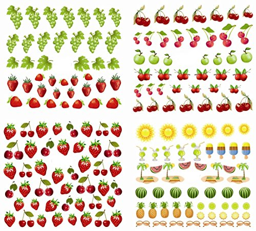 Cherry Tattoo (Nail Art Water Slide Tattoo Decals ★ Juicy Fruits - Cherry, Green Apple, Grape, Strawberry, Watermelon ★ Pack of 4)