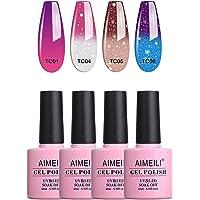 AIMEILI Soak Off UV LED Gel Nail Polish Temperature Colour Changing Multicolour/Mix Colour/Combo Colour Set Of 4pcs X 10ml - Kit Set 8