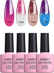 AIMEILI Soak Off UV LED Gel Nail Polish Temperature Colour Changing Multicolour/Mix Colour/Combo Colour Set Of 4pcs X 10ml - Kit Set 8