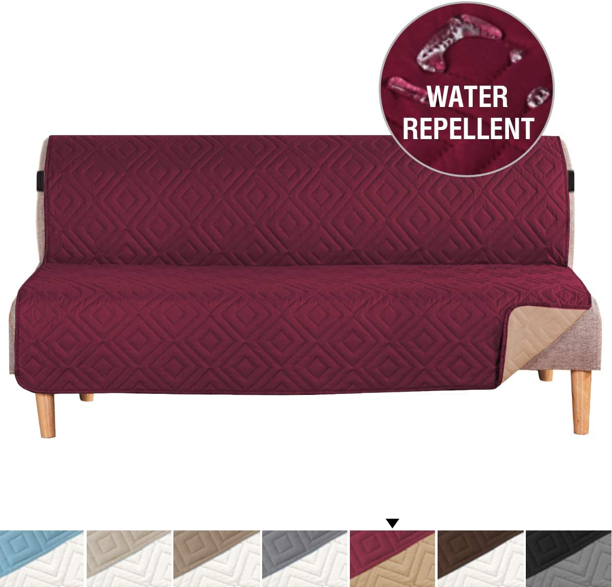 """H.VERSAILTEX Futon Cover Reversible Sofa Slipcover Furniture Protector Anti-Slip Couch Cover Water Resistant 2 Inch Wide Elastic Straps Sofa Cover for Pets Kids Dog Cat(Futon:76""""x70"""", Burgundy/Beige)"""